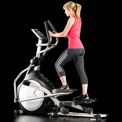 Skandika Crosstrainer CardioCross Carbon Pro SF-3200, 23,5 kg Schwungmasse, wartungsarmes Bremssytem über Magnettechnologie, Transportrollen, Kalorienverbrauch, Zeit und und Pulsmessung - 5