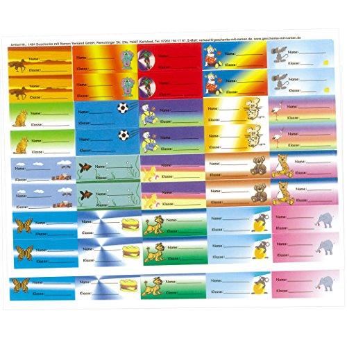 """Geschenke mit Namen 1484 Kinder-Etiketten\""""Name und Klasse\"""" für Schulhefte, Schulbücher, Schulordner, Kinderbücher, 80 Stück, circa 56 x 23 mm, bunt-gemischt mit 20 schönen Kinder-Motiven bunt"""
