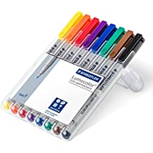 Staedtler feutres universels Lumocolor, non-permanents, pointe fine, pour la plupart des surfaces, 8 couleurs assorties en étui chevalet Staedtler, 316 WP8