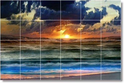 SUNSET PANODIA TILE MURAL S015  48 X 182 88 CM CON (24) 12 X 12 AZULEJOS DE CERAMICA
