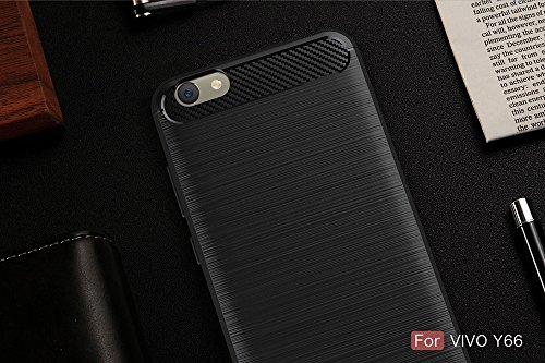 EKINHUI Case Cover Dünne und leichte, gebürstete Carbonfaser-robuste Rüstungsrückseiten-Abdeckungs-Stoßkasten-stoßfeste Tropfen-Widerstand-Shell-Abdeckung für VIVO Y66 ( Color : Gray ) Black