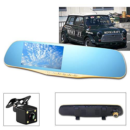 """Dashcam und Rückfahrkamera Set Full HD 1080P Dual Lens 4,3\"""" Touchscreen 140° Weitwinkel Multifunktionale Autokamera mit G-Sensor, Loop-Aufnahme, Bewegungserkennung, IP67 Wasserdicht Backup Camera"""