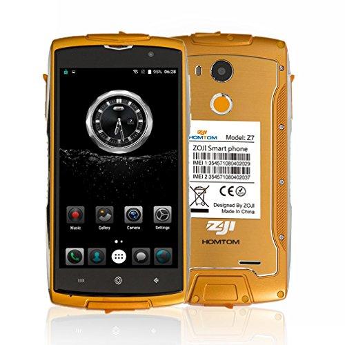 HOMTOM ZOJI Z7 LTE 4G Outdoor Smartphone Ohne Vertrag, 5.0 Zoll Android 6.0, IP68 Wasserdicht Stoßfest Staubdicht , 2GB Ram+16GB Rom, Dual-SIM Quad-Core, Dual Kamera 13MP+5MP, Fingerabdrucksensor GPS - (Orange)