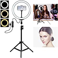 BRAND SUN Tiktok Videos, Desktop 12-inch Camera LED Ring Light with Tripod Stand and Double Phone Holders Compatible…