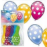 Punkte-Ballons, 6er Pack, Latexballons, zur Heliumbefüllung geeignet