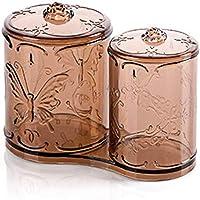 SSyang 2 en 1 Boîte de Rangement,Coton-Pad Distributeur Transparent Boîte de Rangement Maquillage Cosmétique Boîte à…