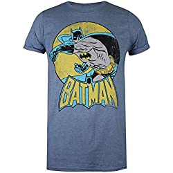 DC Comics Batman Retro, Camiseta para Mujer, Azul (Heather Indigo Hin), 40(Tamaño Fabricante: Medium)