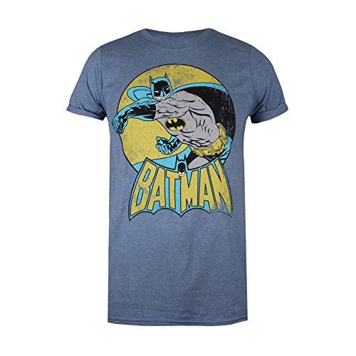 (DC Comics Damen T-Shirt Batman Retro, Blue (Heather Indigo Hin), 40(Hersteller Größe: Large))