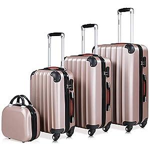 Monzana® Baseline 4er Set Koffer Rose-Gold |Beautycase M, L, XL|Gelgriffe Zahlenschloss| Reisekoffer Trolley Kofferset…