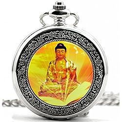Infinite U Retro Budismo Buda Hueco Esqueleto Acero Reloj de bolsillo Mecánico Plateado