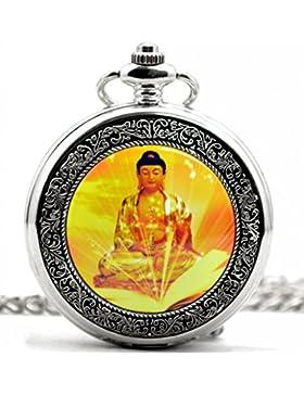Unendlich U Buddha-Statue Retro Handaufzug Mechanische Taschenuhr Buddhism Hohle Skelett Kettenuhr Pullover Halskette...