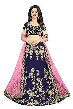 Globatic Creation Women's Silk Semi Stitched Lehenga Choli (Blue & Pink)