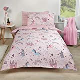 Dreamscene Unicorn Regno Copripiumino Set, Pink-Single, Policotone, Poliestere 50% Cotone, Blush
