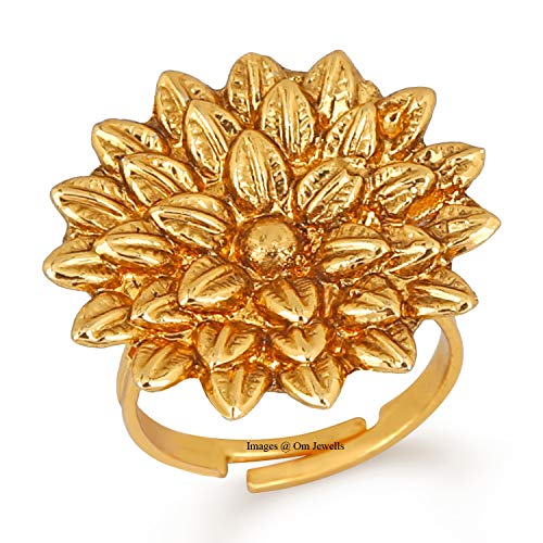 Om Jewells Traditional Ethnic Gold Plated Blooming Flower Adjustable Cocktail Finger Ring for Girls and Women FR1000959