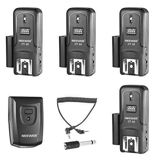 Wireless-flash-sender (Neewer 16Kanäle Wireless Radio Flash Speedlite Studio Blitzauslöser Set, inkl. (1) Sender und (4)-Receiver, geeignet für Canon Nikon Pentax Olympus Panasonic DSLR-Kameras (ct-16))