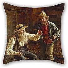 Funda de almohada de 40 x 40 cm, pintura al óleo de Thomas Waterman de madera, 2 lados es adecuado para sofá, familiares, diván, ropa de cama, adultos, familiares