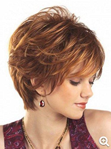 Kurze Lockige Perücke Natürliche suchen Hitzebeständige Synthetische Haar Perücke für Frauen mit Perücke Cap (Synthetische Haar Lockige)