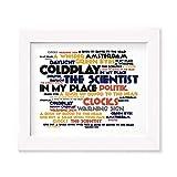Coldplay Poster Affiche d'art - A Rush of Blood to The Head - Edition signée et numérotée limitée Typographie Non encadré 20 x 25 cm la Musique Album Mur Art Haute qualité d'impression