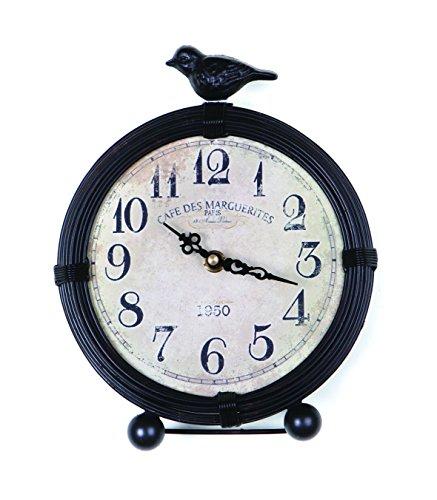 NIKKY HOME Horloge Table avec Style Vintage Quartz analogique Bureau et étagère pour Salon Salle de Bain Décoration Oiseaux Ronde en métal en Bois Noir
