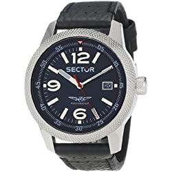 Sector Men's Quartz Watch with Black Dial Analogue Display and Black Leather Strap R3251102011