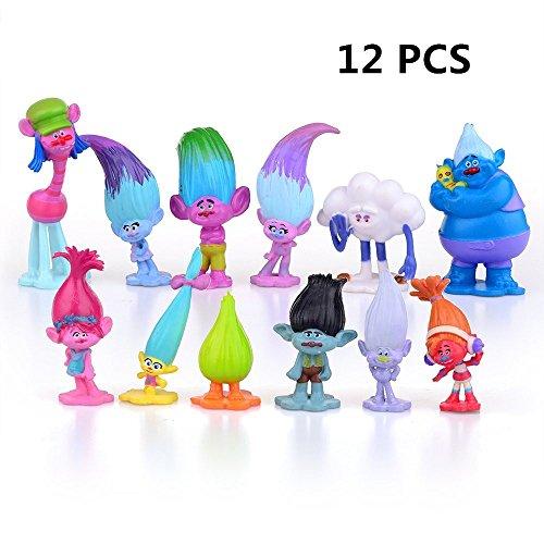 EU-Pretty Seller Dreamworks Film Trolls Poupées 12 pcs Mini Figures Collectable Doll 3-7 cm Figurines Cake Toppers