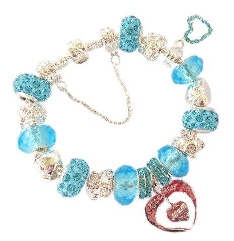 Treasured Charms & Beads maman et fille strass bleu ciel et argent cristal Bracelet Charm Femme/Fille/fête des mères/anniversaire