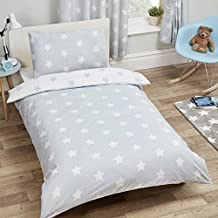 NEW Price Right Home White Stars Junior Duvet and Pillowcase Set - Grey