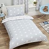 Price Right Home - Juego de funda de edredón y funda de almohada para cama individual, diseño de estrellas blancas y grises