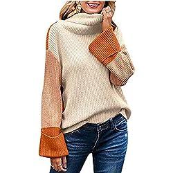 VJGOAL Suéter de Cuello Alto para Mujer Casual Moda Contraste Color Cisne Cuello Jerséis Flojo Manga Larga Color Costura Tejer Tops