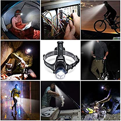 KINGTOP Waterproof USB Rechargeable LED Zoomable Head Light Torch Lamp with Internal Lithium Battery 6
