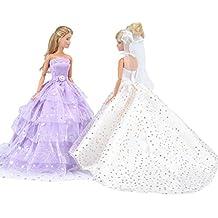 E-TING princesa vestido de Novia de encaje Floral vestido con Paillette Barbie Cenicienta de ropa de noche de fiesta traje para real bola de Disney Cenicienta y la bella durmiente