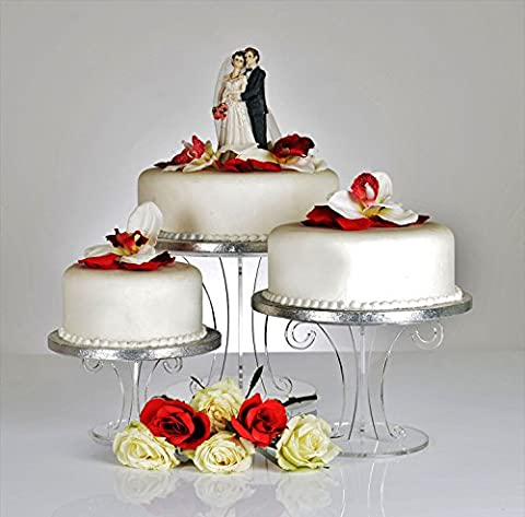 Clear Acrylic Scroll Wedding Cake Stand - Set of 3