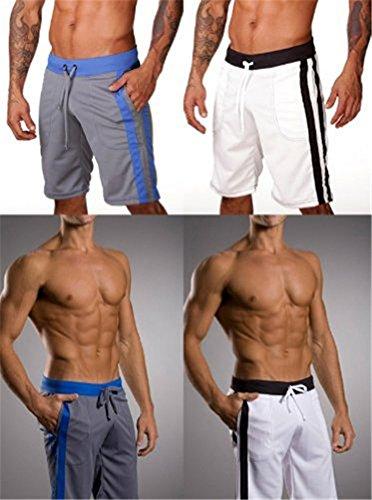 Demarkt Homme Short de Sport Pantalon Court de Plage Taille S/M/L - Couleur Noir Bleu Rouge Gris Blanc Blanc