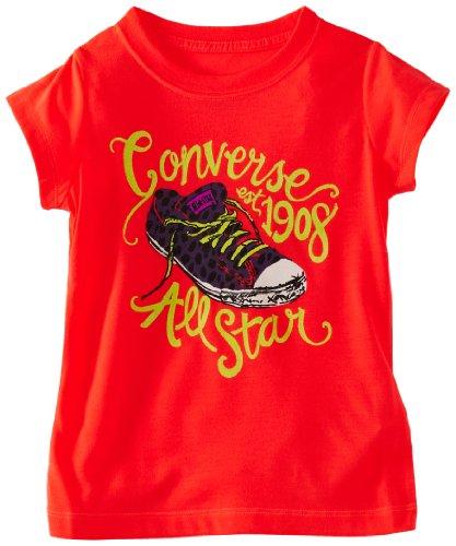 Converse 1734-608Logo Mädchen T-Shirt Gr. 6 Jahre, Fiery Coral