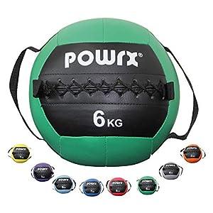 POWRX Gewichtsball inkl. Griff Band I Medizinball Wall Ball 1-8 kg I Robuster...
