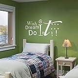WallsUp 'Autocollant Mural avec Citation Wish Dream Do It, Vinyle, Vinyle, Custom, 24 x58