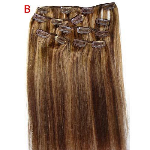 e 7-teilige Clips, echte Haarspangen, 20-Zoll-Haarspangen, Clips (B) ()