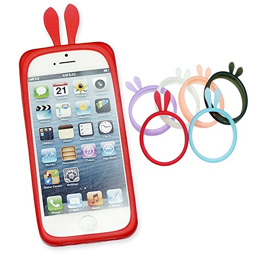 OBiDi - Rabbit Style Ring Silicone Bumper Case / Housse pour Apple iPhone SE / Apple iPhone 5S / 5 - Rouge Rouge