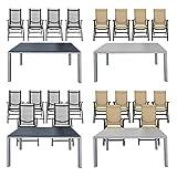 ESTEXO® Gartentisch-Set WPC 150x90 mit 4/6 Stühle Gartenklappstühle Sitzgruppe (6 Stühle, Beige/Grau)