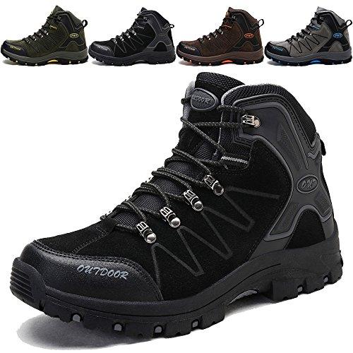 KAMIXIN Scarpe da Escursionismo Uomo Donna Stivali da Escursionismo Alti Scarpe da Arrampicata Scarpe da Trekking All'aperto Sneakers Calzature da Escursionismo Nero EU42