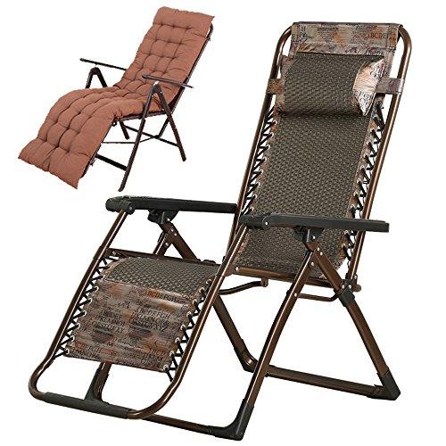 YNN Fauteuils inclinables Chaise Pliante Pause déjeuner Ménage Siesta Lit Vieille Chaise Chaise de Couchage d'été Chaise en Osier extérieur Chaise de Plage décontractée (Couleur : A)