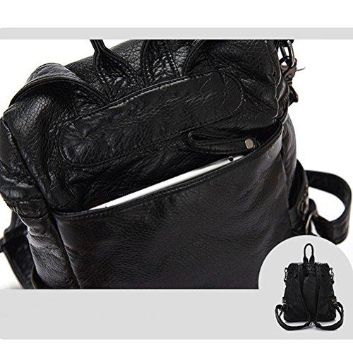 Honeymall Damen Mode aus Weichem Leder Rucksack Schulterbeutel Niet Vintage Satchel Daypack(Schwarz) - 5