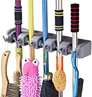 QOZWEID® Mop and Broom Holder; Upgraded with Effective Strong Holding 5 Slot Position with 6 Hooks Garage Stor