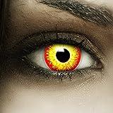 Farbige Rot Gelbe Es Kontaktlinsen Horrow Clown + Kunstblut Kapseln + Behälter von FXCONTACTS, weich, ohne Stärke als 2er Pack - perfekt zu Halloween, Karneval, Fasching oder Fasnacht