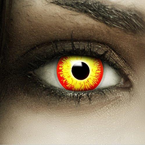 Farbige Rot Gelbe Es Kontaktlinsen Horrow Clown + Kunstblut Kapseln + Behälter von FXCONTACTS®, weich, ohne Stärke als 2er Pack - perfekt zu Halloween, Karneval, Fasching oder Fasnacht