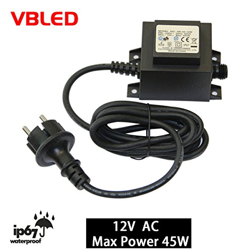 VBLED® 45W Netzteil / Trafo / Transformator 12V AC wassergeschützt IP67 für Außen- & Innenbereich, Input 230V Anschluss 1,9 m Kabel für Gartenbeleuchtung, Strahler, Spots, Pumpen, etc
