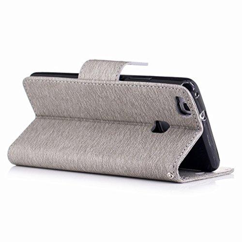 Yiizy Huawei P9 Lite / G9 Lite / Honor 8 Smart Custodia Cover, Fiore Di Farfalla Design Sottile Flip Portafoglio PU Pelle Cuoio Copertura Shell Case Slot Schede Cavalletto Stile Libro Bumper Protettiv Grigio