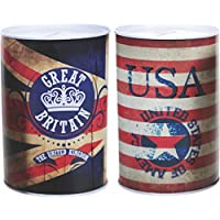 2er Set Spardose Vintage USA & UK Flagge Metall England Great Britain preisvergleich bei kinderzimmerdekopreise.eu