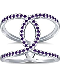 Silvernshine Halo Twist Amethyst CZ Diamond Engagement Ring 14k White Gold Plated Bridal Ring Set