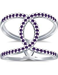 Silvernshine Halo Twist Amethyst CZ Diamond Engagement Ring 14k White Gold Plated Bridal Ring Set